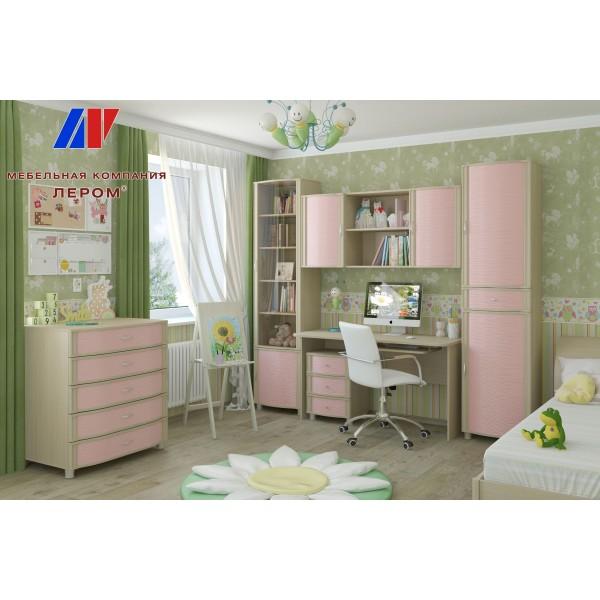 Детская Валерия 11 БД-Р цвет Дуб беленый с розовыми вставками (БД-Р)