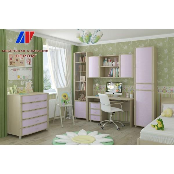 Детская Валерия 11 БД-С цвет Дуб беленый с сереневыми вставками (БД-С)