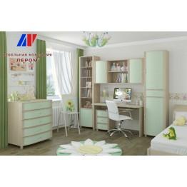 Детская Валерия 11 БД-З цвет Дуб беленый с зелеными вставками (БД-З)