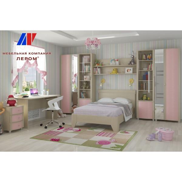 Детская валерия 12 БД-Р цвет Дуб беленый с розовыми вставками (БД-Р)