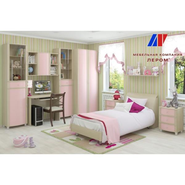 Детская Валерия 3 БД-Р цвет Дуб беленый с розовыми вставками (БД-Р)