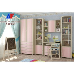 Детская Валерия 5 БД-Р цвет Дуб беленый с розовыми вставками (БД-Р)