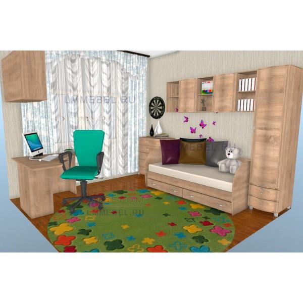 Дизайн проект 1 детской Валерия для комнаты 12 кв.м.