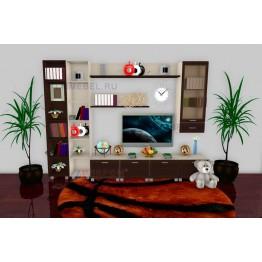 Гостиная Лером Мелисса ПР1 цвет корпус Дуб Беленый, фасады Дуб Венге (БД-ВЕ)