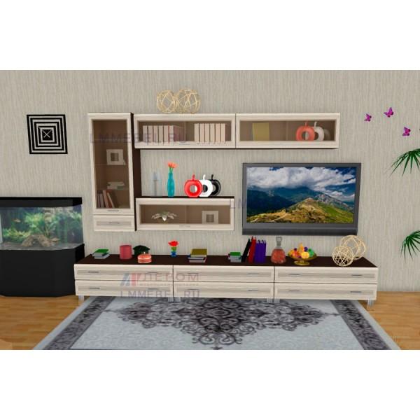 Гостиная Лером Мелисса ПР2 цвет корпус Дуб Венге, фасады Дуб Беленый (ВЕ-БД)