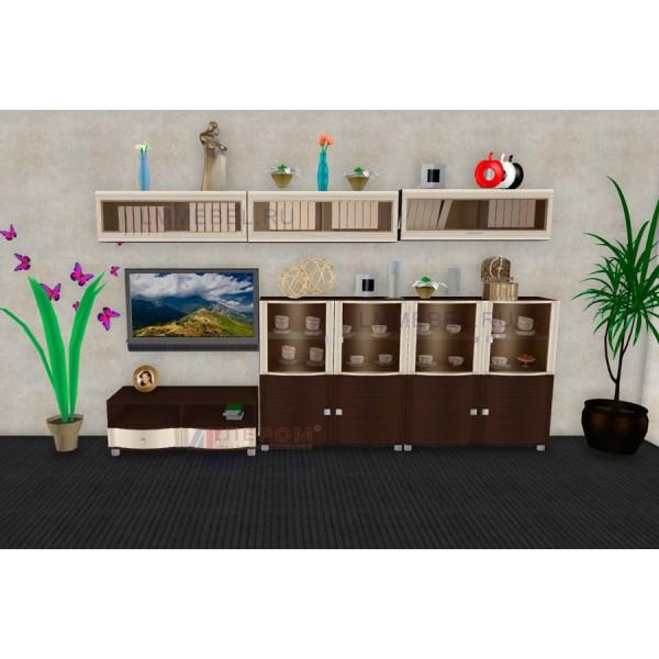 Гостиная Лером Оливия ПР1 цвет Дуб Венге - комбинированный (ВЕ-К)
